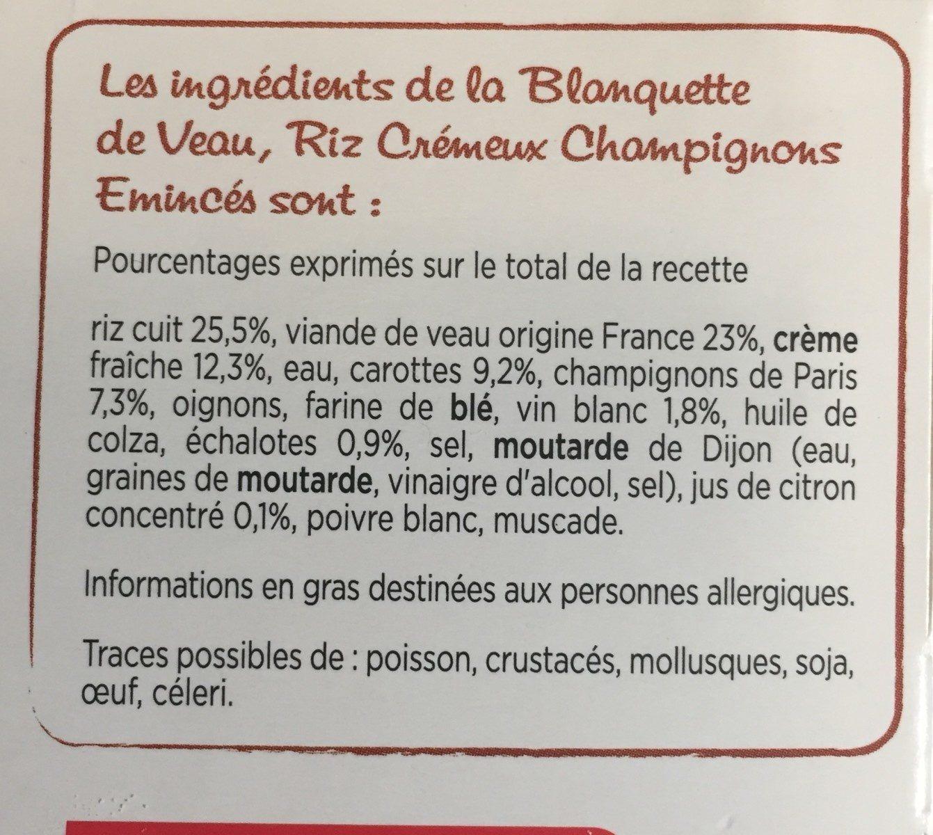 Blanquette de Veau, Riz Crémeux, Champignons eminces - Ingrediënten