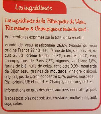 Blanquette de Veau, Riz Crémeux &Champignons émincés - Ingrediënten - fr