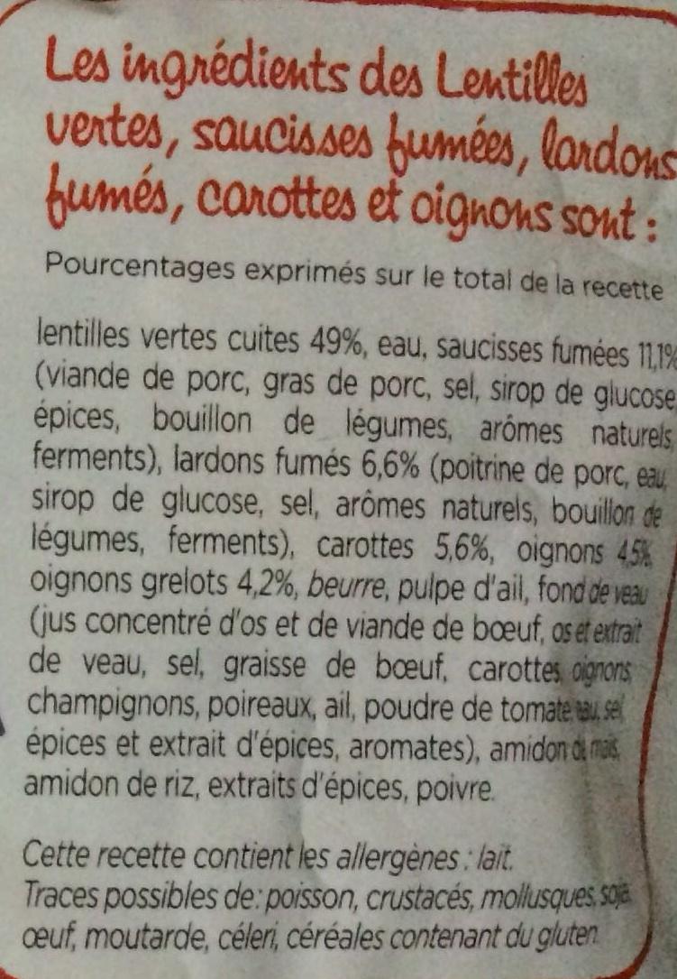 Saucisses et lardons fumés - Ingredients