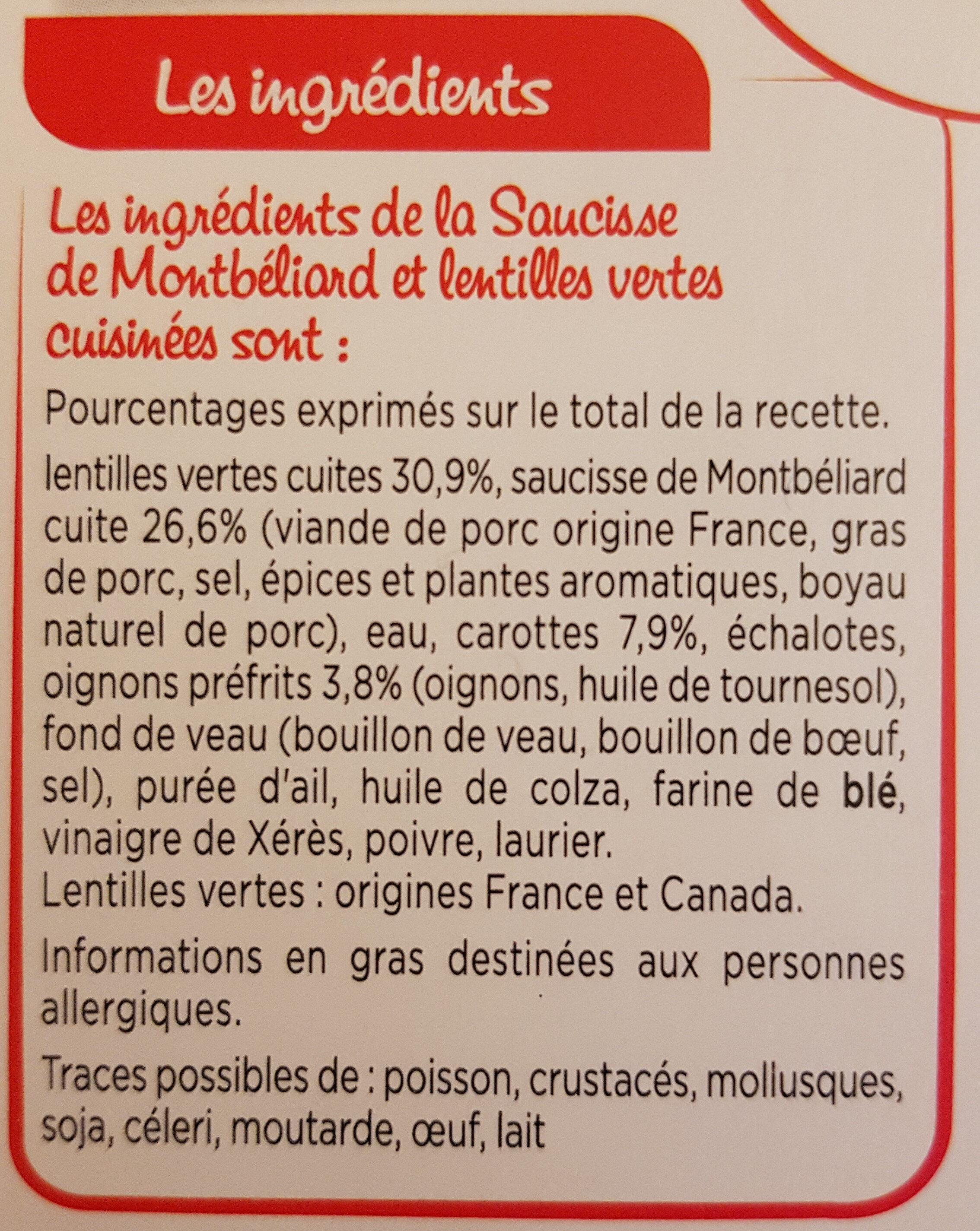 Saucisse de Montbéliard, Lentilles cuisinées - Ingredienti - fr