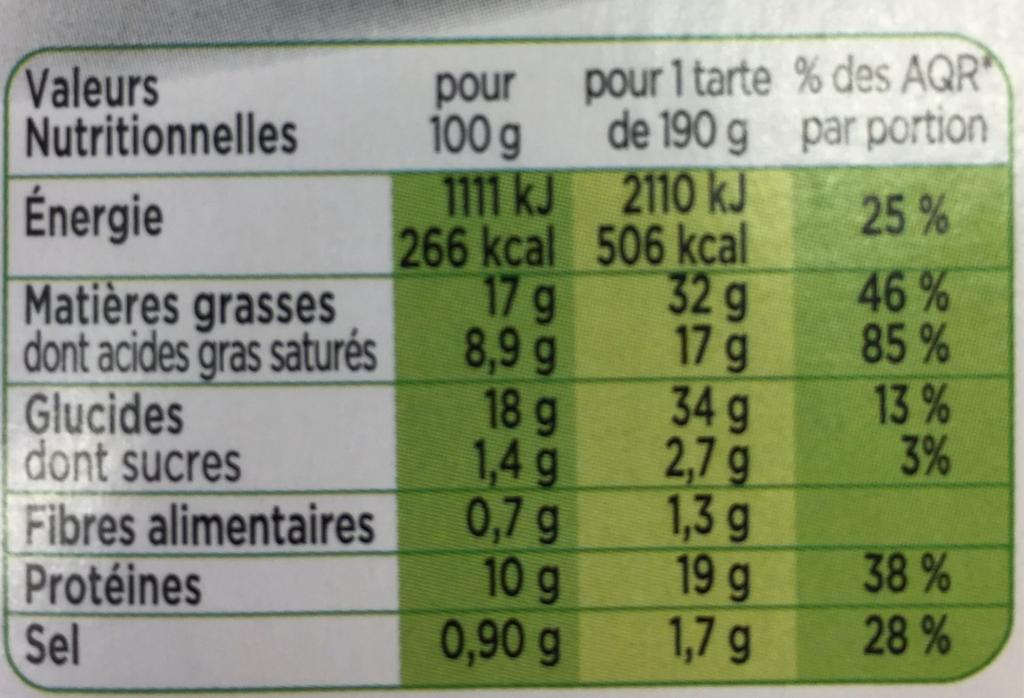 Tarte 3 Fromages 190g - Informations nutritionnelles