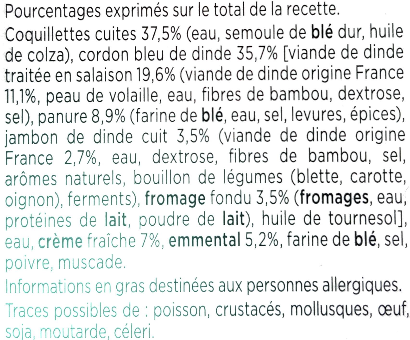 Cordon Bleu de Dinde, Coquillettes à l'emmental - Ingrediënten - fr