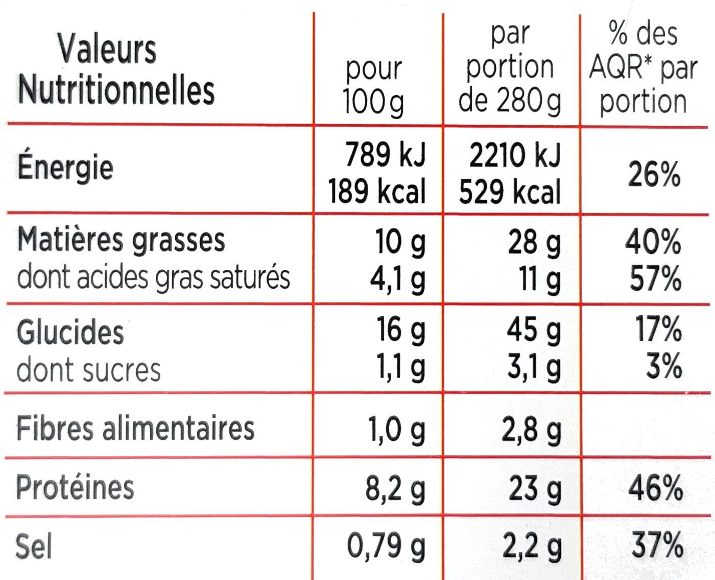 Cordon bleu coquillettes au fromage - Informations nutritionnelles - fr