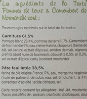 Tarte Pommes de terre et Camembert de Normandie - Ingredients - fr