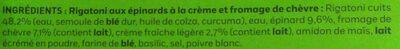 Rigatoni au chèvre et épinards à la crème - Ingrediënten - fr