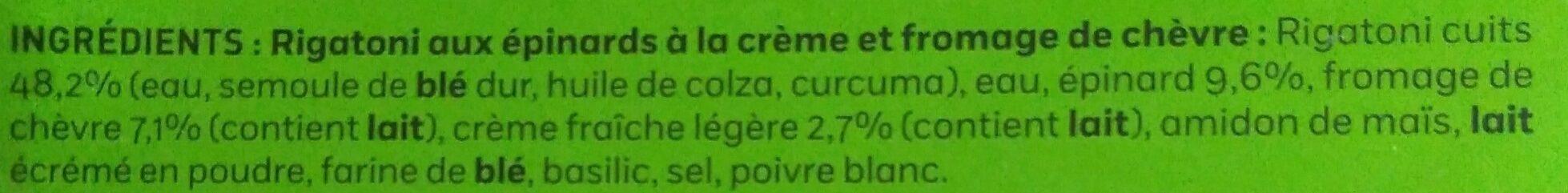 Rigatoni au chèvre et épinards à la crème - Ingredients - fr