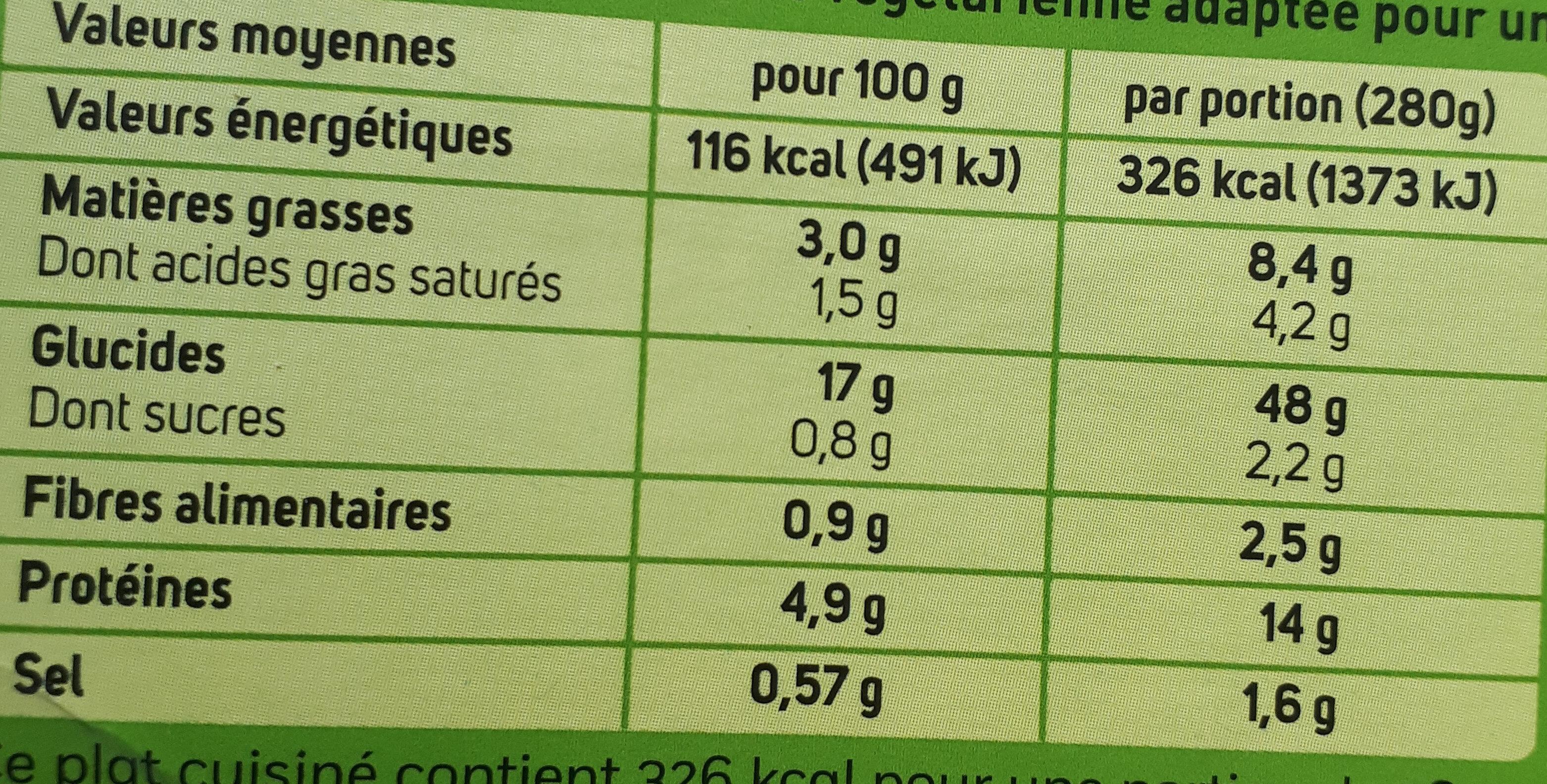 Rigatoni au chèvre et épinards à la crème - Nutrition facts - fr