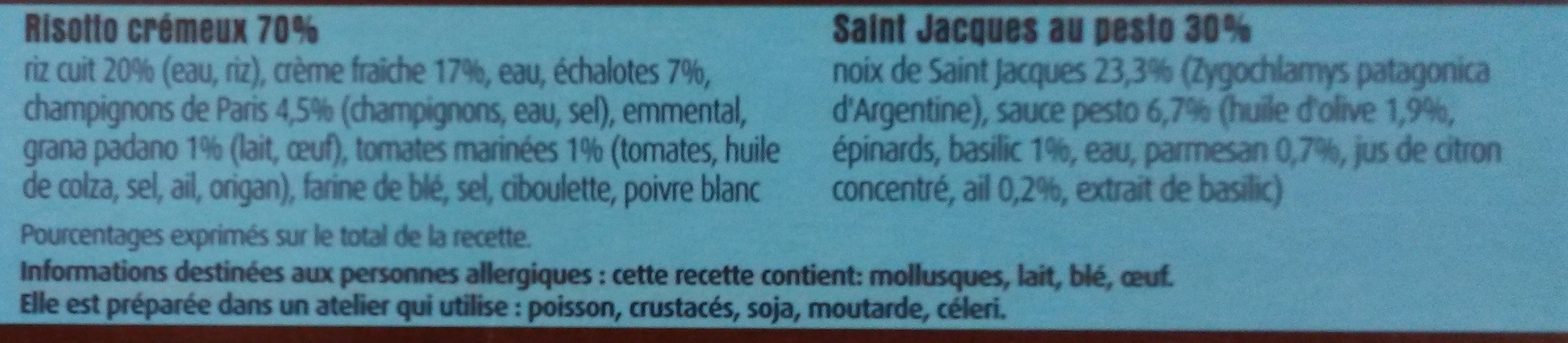 Noix de St-Jacques au Pesto & Risotto Crémeux - Ingrédients - fr