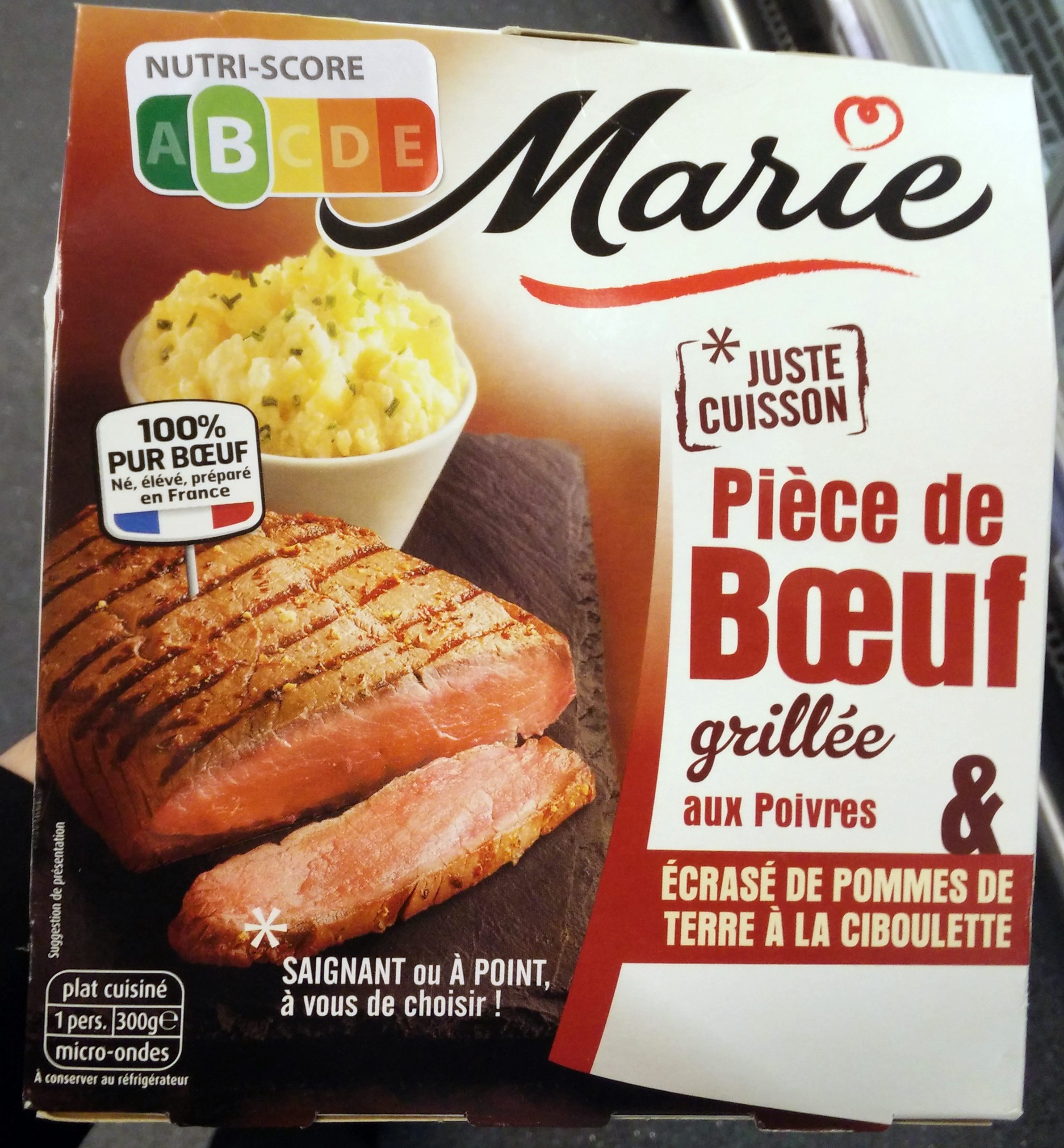pi ce de boeuf grill e aux poivres cras de pommes de terre la ciboulette marie 300 g. Black Bedroom Furniture Sets. Home Design Ideas