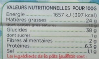 La Feuilletéehd - Nutrition facts