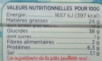 La Feuilletéehd - Información nutricional
