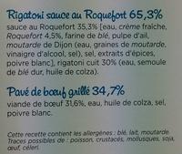 Pavé de Bœuf grillé & Rigatoni sauce au roquefort - Ingrediënten - fr