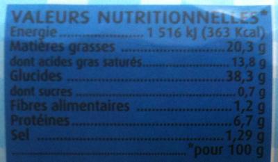 Pâte à Tarte Feuilletée Tout Simplement - Informations nutritionnelles - fr
