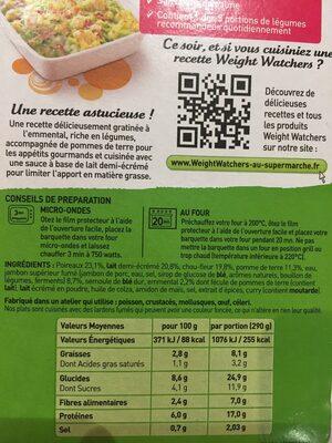 Gratin de Poireaux Choux-Fleurs - Inhaltsstoffe - fr
