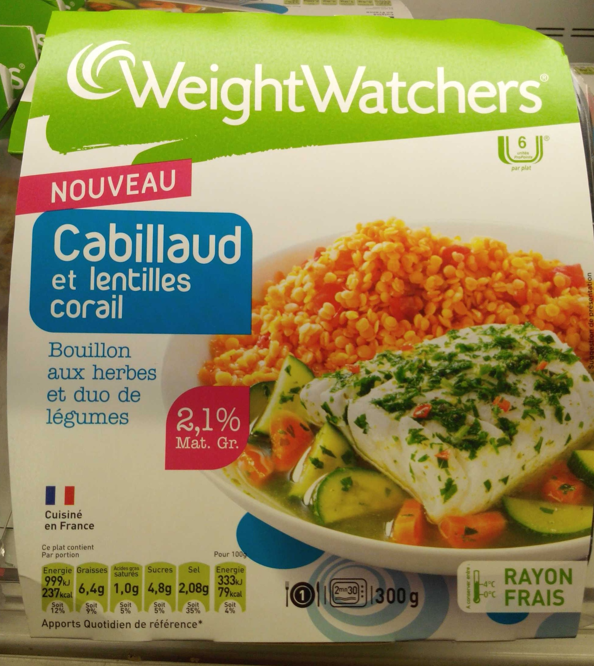 cabillaud et lentilles corail 2 1 mg weightwatchers 300 g 1 part. Black Bedroom Furniture Sets. Home Design Ideas