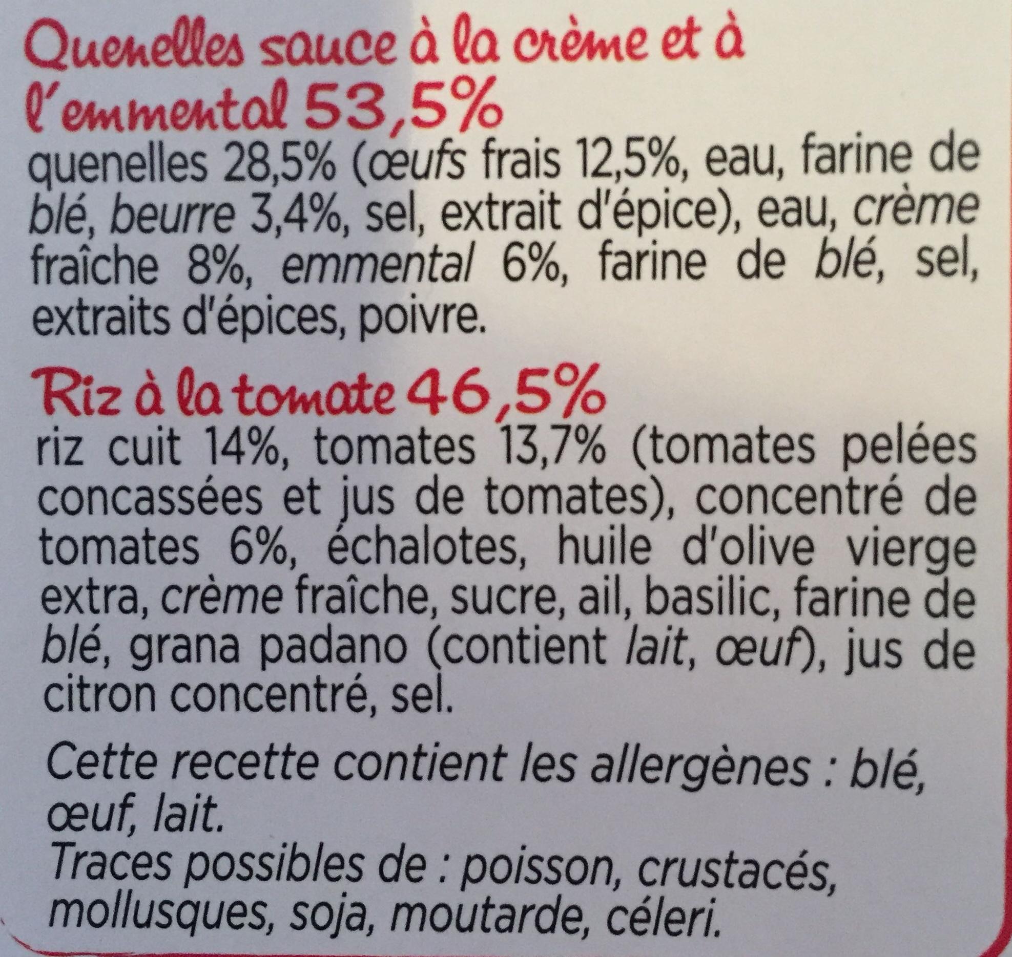 Quenelles, sauce à la Crème et à l'Emmental, Riz à la tomate - Ingrédients - fr