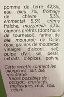 Patati Patata, Pomme de Terre Quatre Fromages - Ingrédients - fr