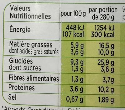 Patati Patata, Pomme de Terre Chèvre Tomate Basilic - Informations nutritionnelles - fr