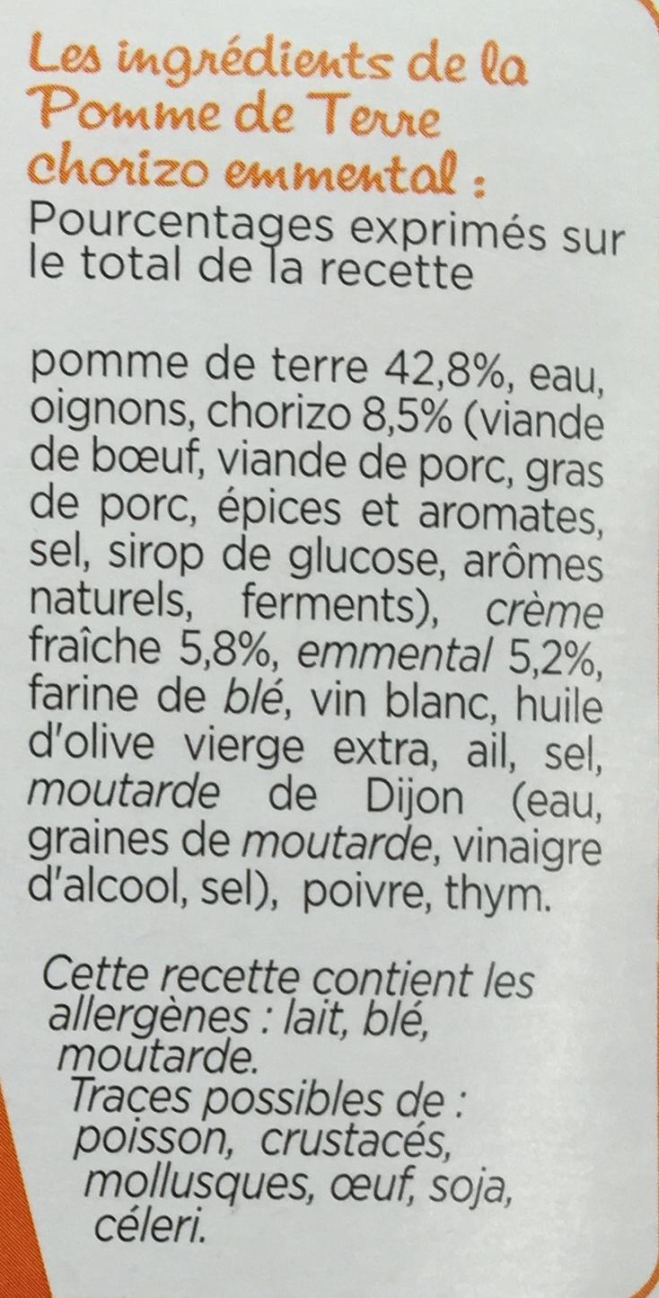 Patati Patata, Pomme de terre Chorizo Emmental - Ingrédients - fr