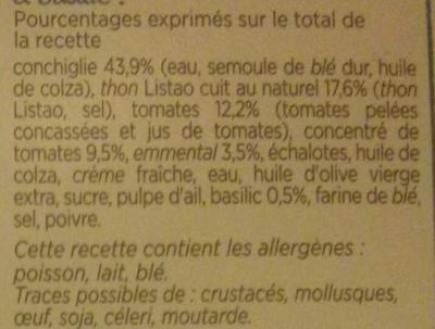 Pâtes Conchiglie au Thon - Ingredients - fr