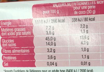 Perles de coco - Nutrition facts - fr