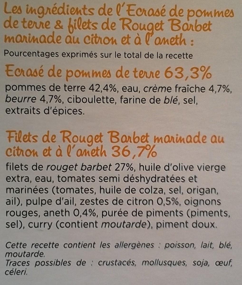 Filet de Rouget Barbet & Ecrasé de pommes de terre - Ingredients - fr