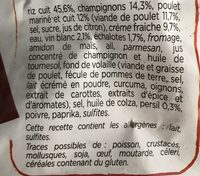 Risotto poulet champignons 900g - Ingredients