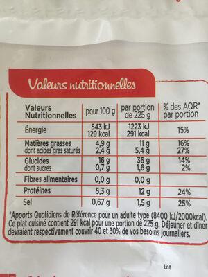 Risotto au Poulet et Champignons à la crème - Informations nutritionnelles - fr