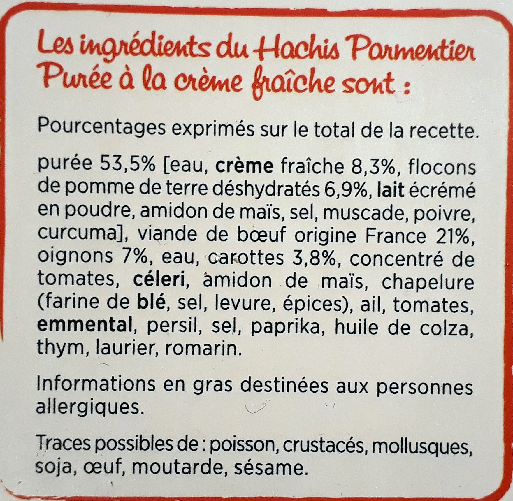 Hachis Parmentier (600g) - Ingredients - fr
