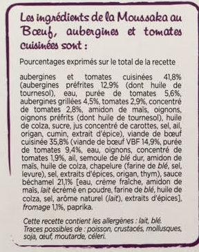 Moussaka au Boeuf (600g) - Ingrédients