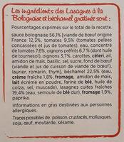 Lasagnes a la bolognaise, Bechamel Gratinee (600g) - Ingrédients - fr