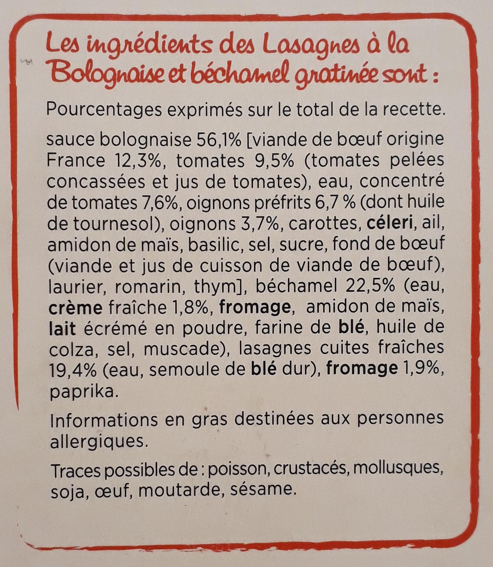 Lasagne bolognaise - Ingrédients - fr