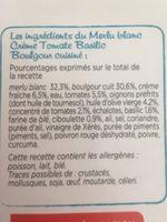 Merlu Blanc, Crème tomate basilic, Boulgour cuisine - Ingrediënten