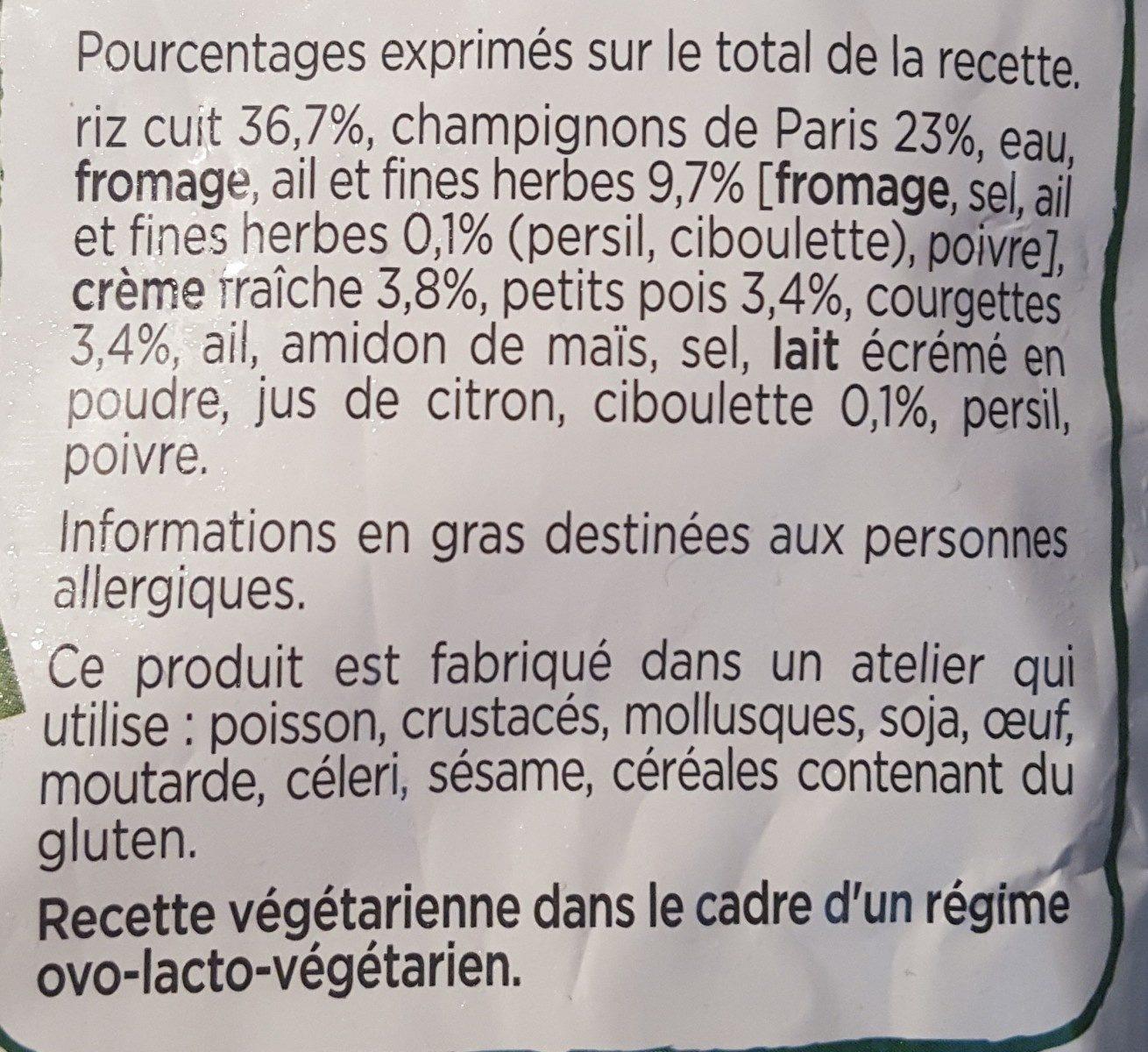 Risotto aux champignons de Paris, Petits légumes - Ingrédients