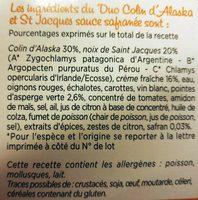 Duo Colin d'Alaska & St Jacques Sauce Safranée - Ingrédients