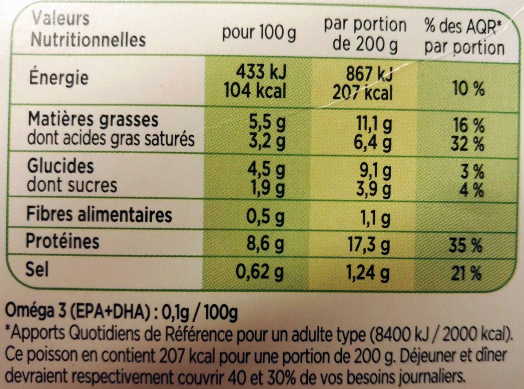 Duo Colin d'Alaska & St Jacques Sauce Safranée - Informations nutritionnelles