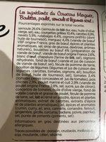 Couscous Merguez, Boulettes au Boeuf, Poulet - Ingrédients