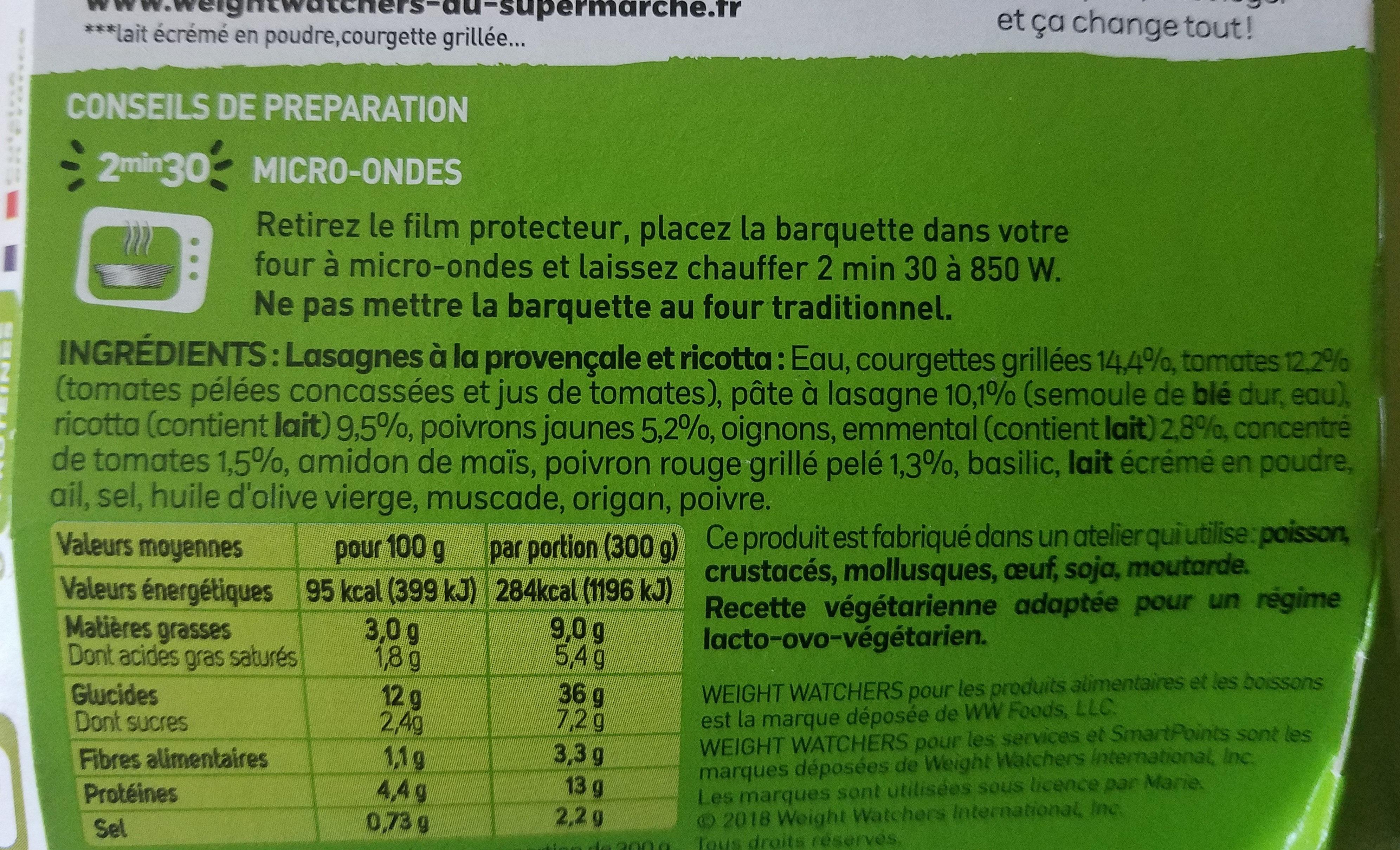 Lasagnes a la provencale et ricotta - Informations nutritionnelles