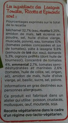 Lasagnes Tomates, Ricotta et Epinards - Ingrediënten - fr
