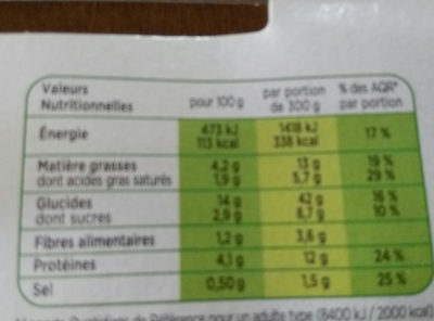 Lasagnes Tomates, Ricotta et Epinards - Voedingswaarden - fr