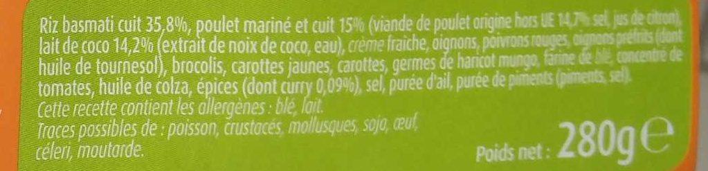 Poulet Curry et Riz Basmati - Ingrédients
