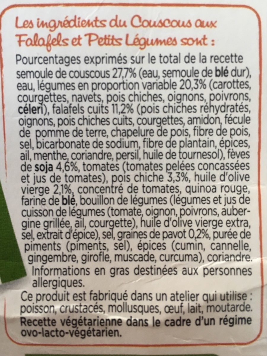 Couscous aux Falafels - Ingrédients