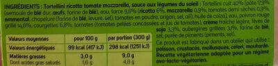 Tortellini tomate Mozzarella, sauce aux légumes du soleil - Ingrédients