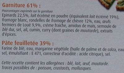 Tarte chèvre épinards Marie - Ingrédients
