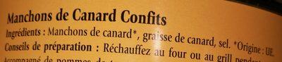 Manchons de canard confits - Ingredients