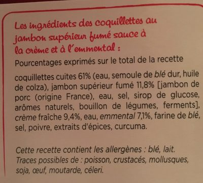 Coquillettes au jambon et au fromage la barquette de 280 gr - Ingrediënten
