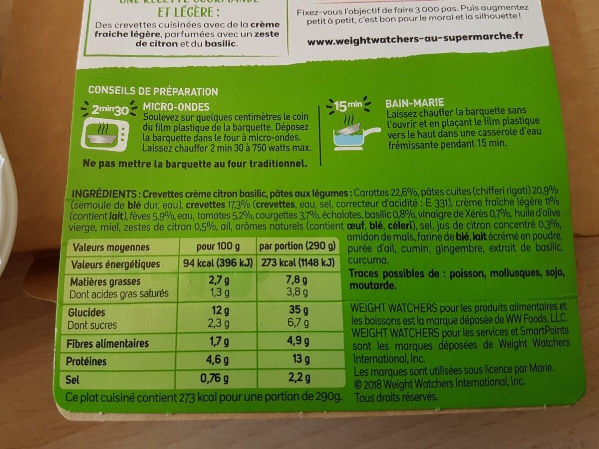 Crevettes, Crème Citron Basilic - Ingrédients - fr