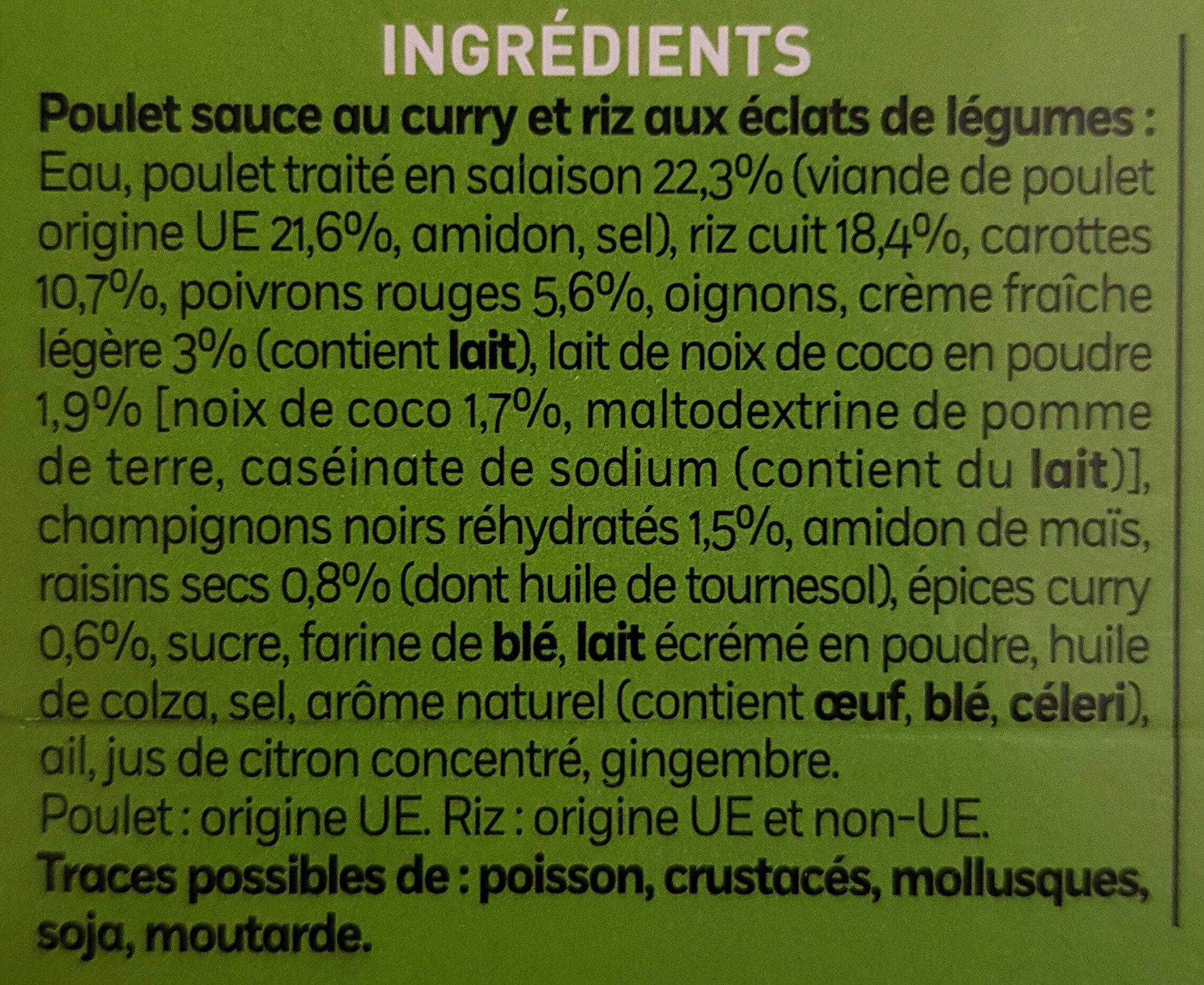 Poulet au Curry et Coco Riz au éclats de légumes - Ingredients - fr