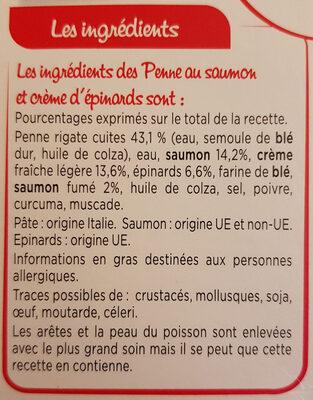 Penne au saumon et crème d'épinards - Ingrédients - fr