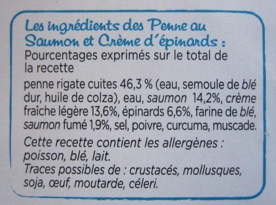 Penne au Saumon, Crème d'épinards - Ingredients